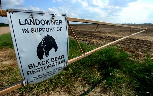 Landowner in Support of Black Bear Restoration sign on gate