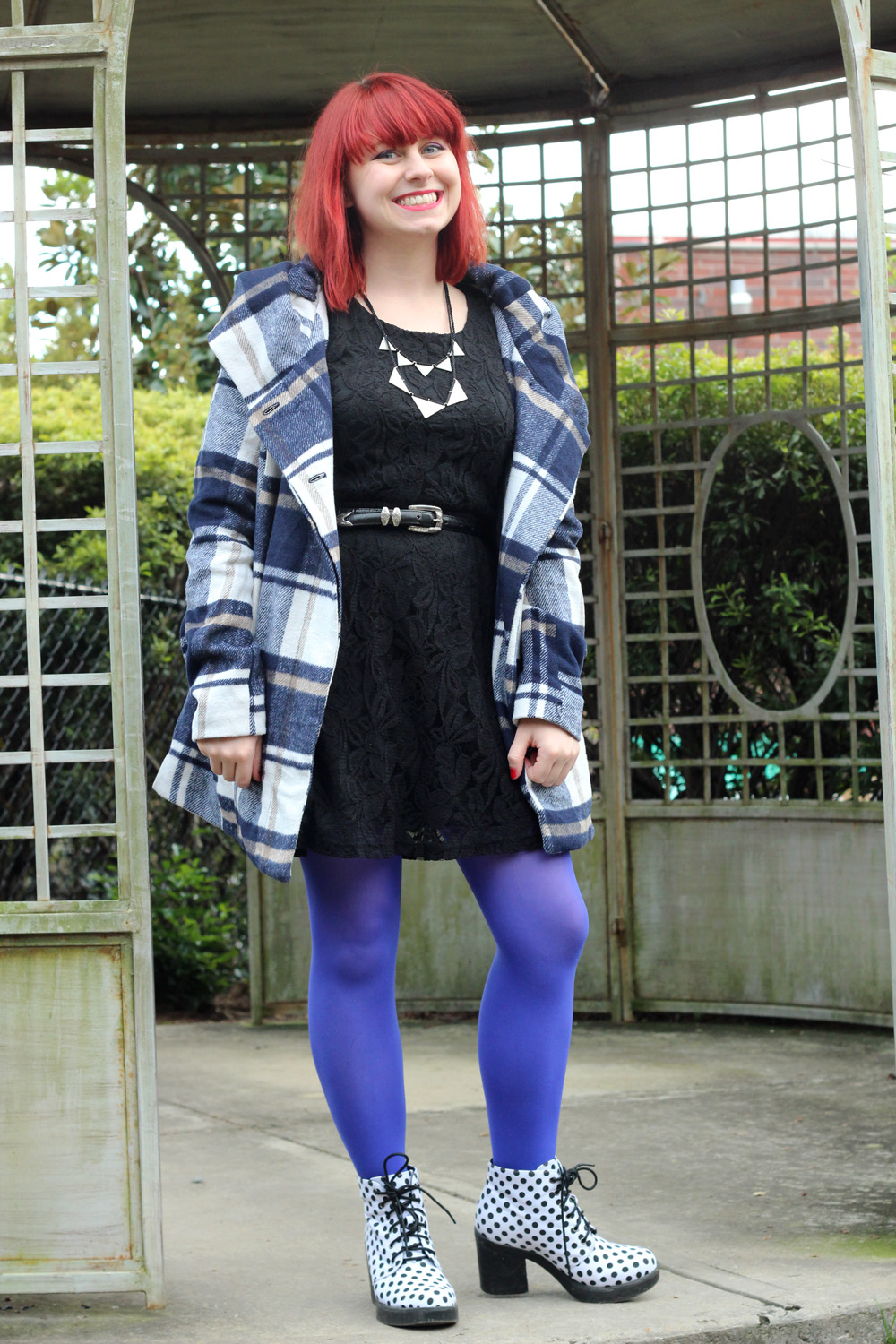 Blue and White Plaid Coat, Black Lace Dress, Bright Blue Tights, and White Polka Dot Chunky Boots