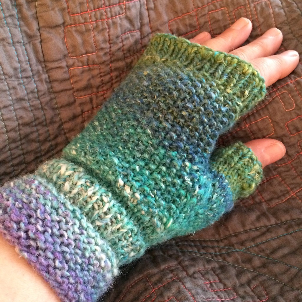 Knitting Fingerless gloves, yarn is Noro Silk Garden ...