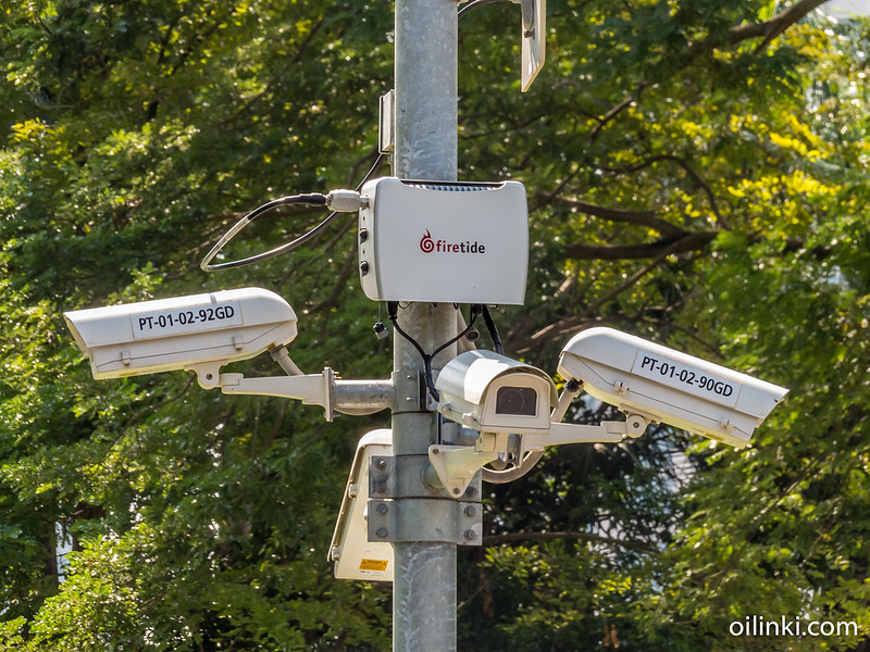 Security cameras are everywhere in Lumpini park