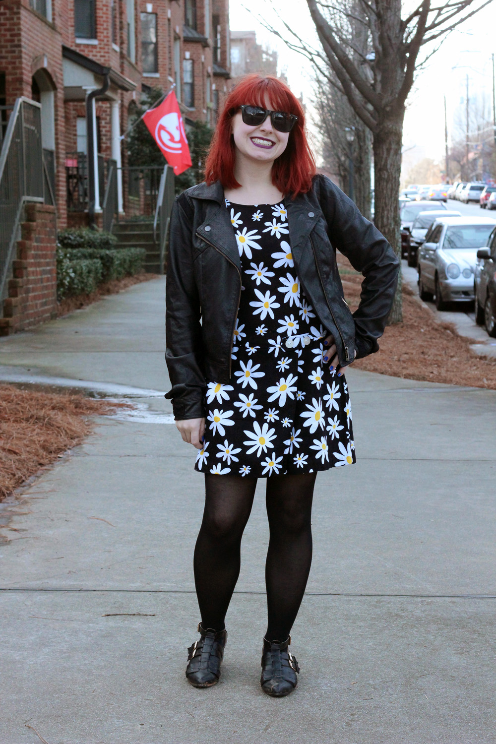 Daisy Print Skort Romper, Faux Leather Jacket, Black Tights, and Black Cutout Boot Flats