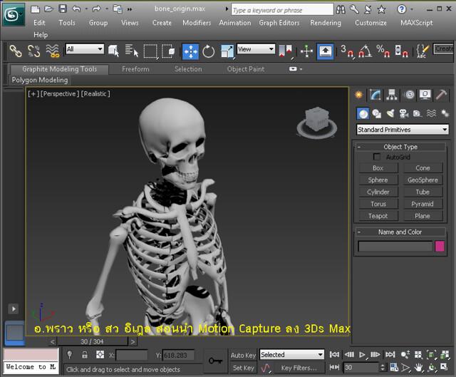 การใส่ไฟล์ Motion Capture ในกระดูก 3Ds Max Skeletal animation rigging rig