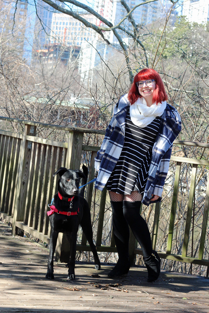 Geek Glasses, Blue Plaid Coat, Black Striped Dress, Over the Knee Socks, and Black Wedge Boots
