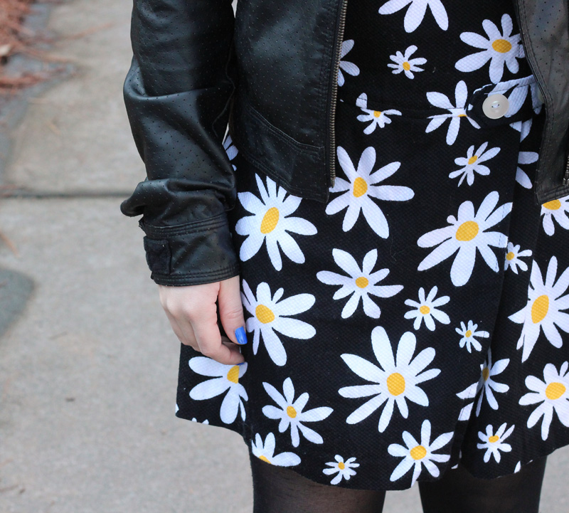 White and Black Daisy Print Skort Romper