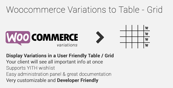 WooCommerce Variations to Table - Grid v1.2.0