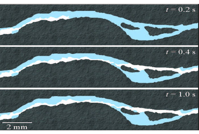 Shown are time lapse images of supercritical CO2 displacing water in a fracture etched into a shale micromodel. The white, blue and gray colors represent supercritical CO2, water and shale, respectively.