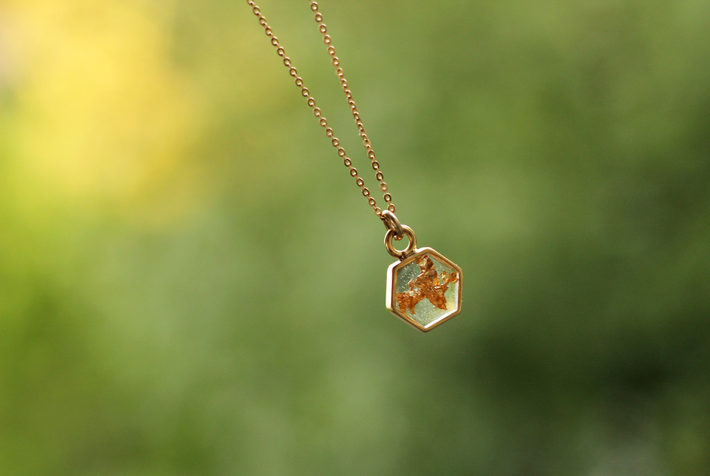 Gold Hexagon Necklace with Gold Leaf Resin Inlay from Cameoko out of Atlanta