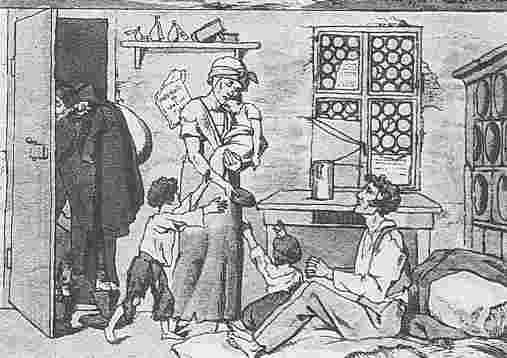 19世紀的工人家庭/版畫