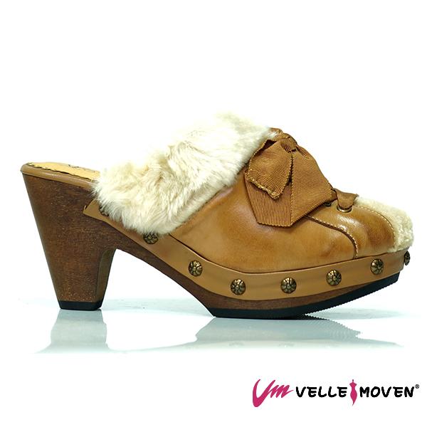 經典咖,保暖拖鞋,毛毛鞋,刷皮牛皮