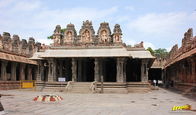 The beautiful mandapa an open pillared hall or pavillion of the Viurpaksha temple, in Virupaksha Temple complex, Hampi, Ballari district, Karnataka, India