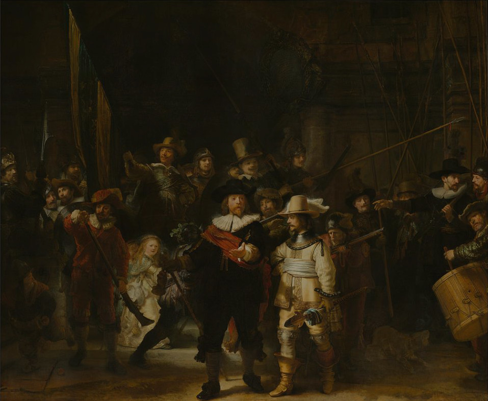 The Nightwatch by Rembrandt, 1642 (simulated partially obscured by layers of varnish and dirt)