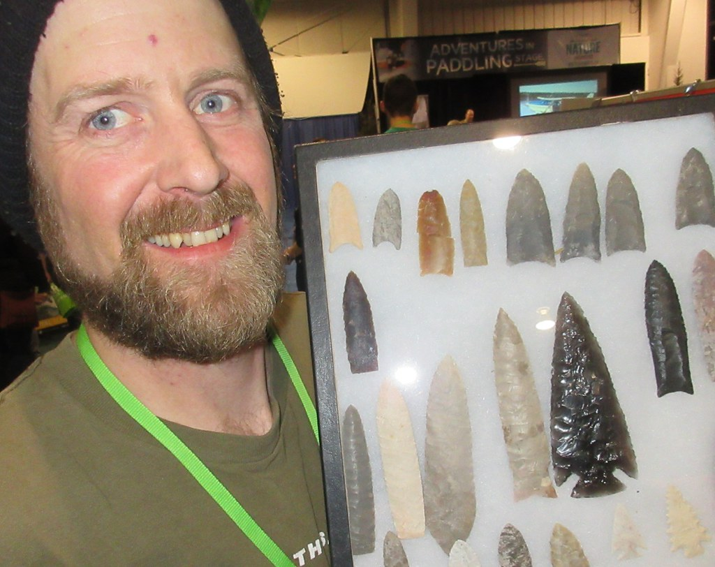 collecting arrowheads from native Canadian settlements