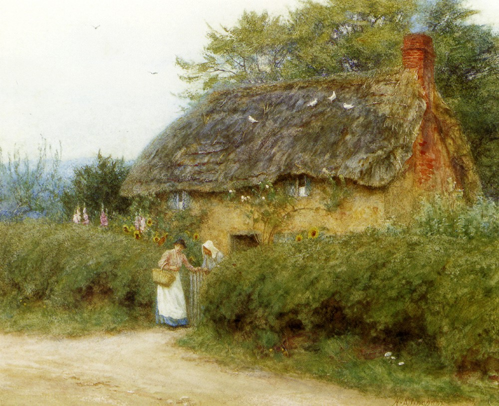 A Cottage With Sunflowers by Helen Allingham