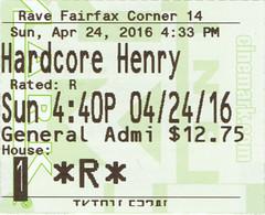 Hardcore Henry ticketstub
