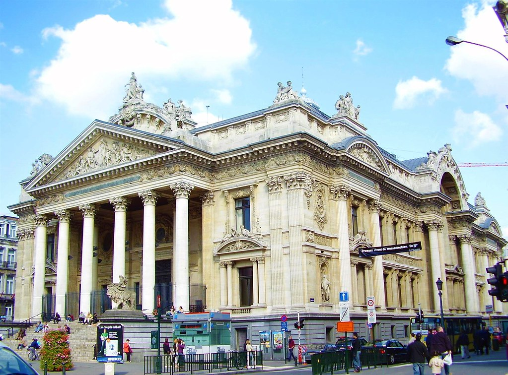 Facade of the Brussels Stock Exchange, Belgium. Built 1873. Image credit Ben2.