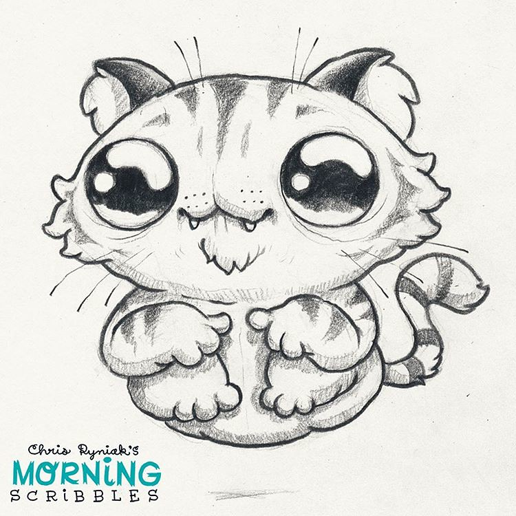 Character Drawings Portraits And Monsters: Hover Cat! 🐯 #morningscribbles