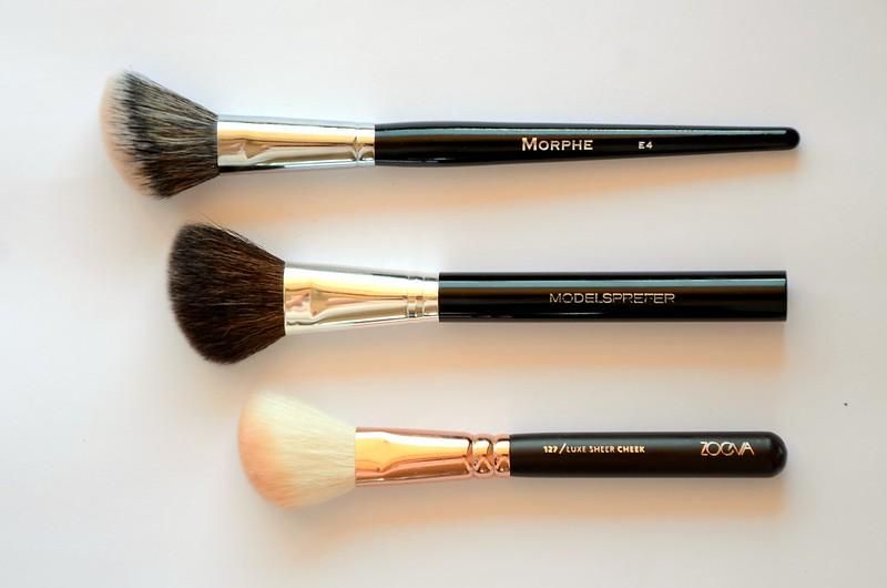 contour brush morphe. top to bottom: morphe e4, models prefer mystique angled blush brush, zoeva 127 luxe sheer cheek contour brush