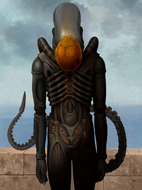 Magritte Alien Xenomorph by Ben Chen