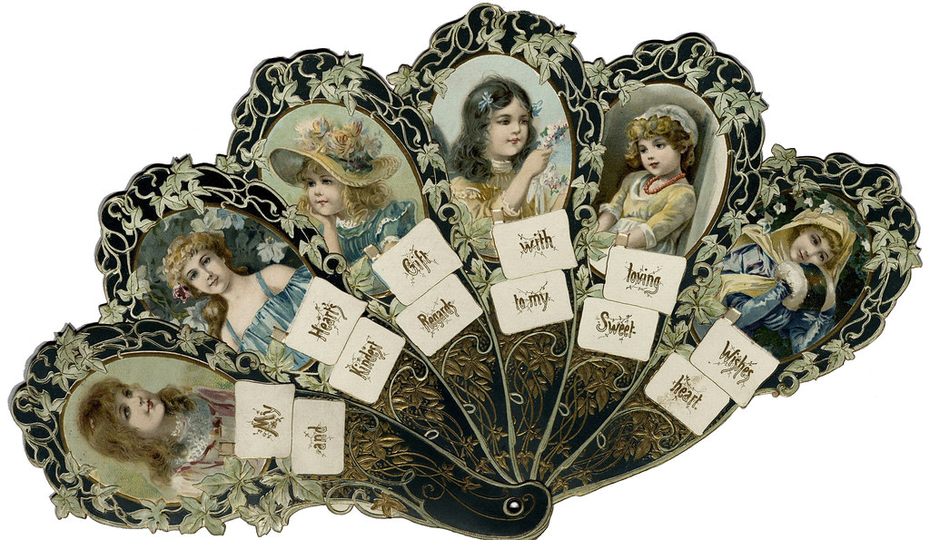 19th-century Veltine fan with words