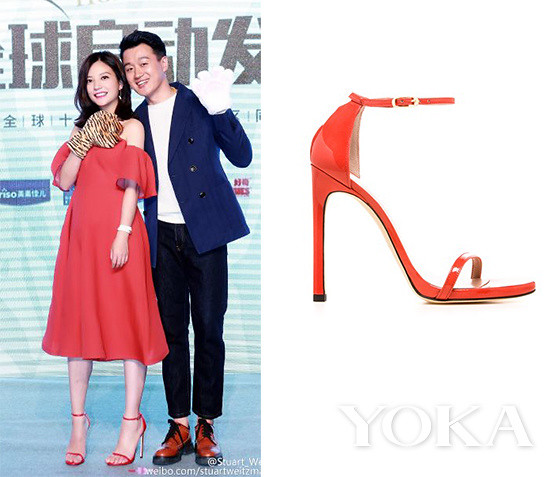 Zhao is wearing VikaGazinskaya red sparkling dress fastens with Stuart Weitzman Nudist series.