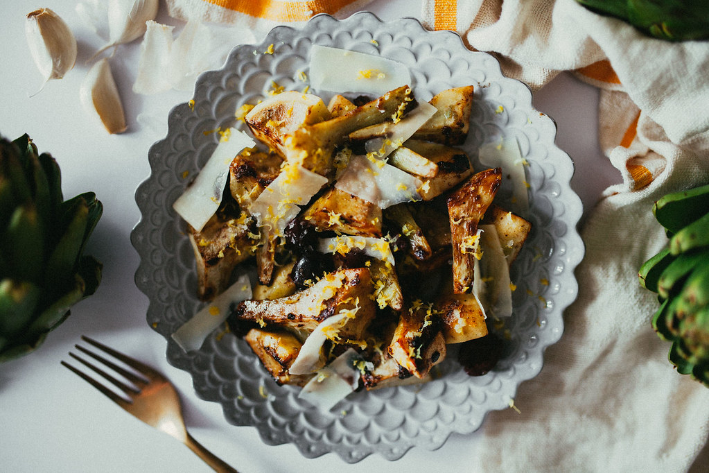 warm and buttery artichoke salad