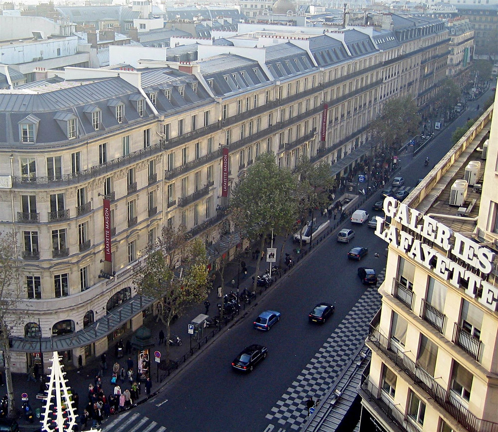 Mansard rooftops along Boulevard Haussmann in Paris constructed during the Second French Empire. Image credit Thierry Bézecourt.