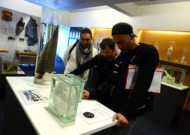 Los 4 muy atentos a una de las indicaciones del museo del pene