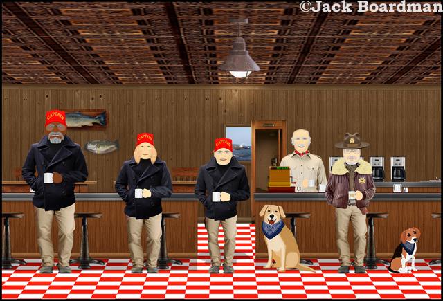 Tugboat Captains visit the Cyber Café ©Jack Boardman