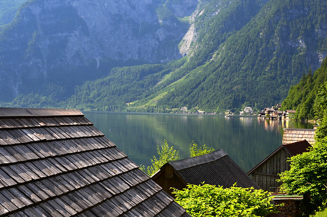 View from along the lake, Hallstatt, Austria
