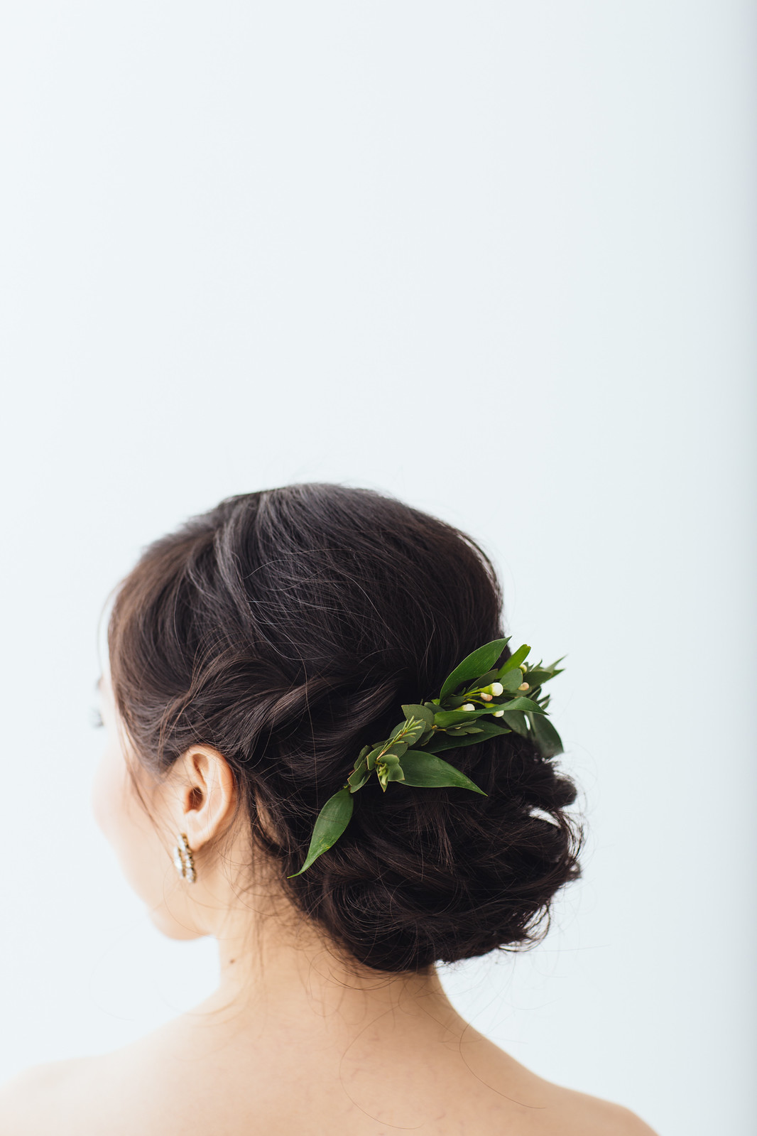 wedding hair foliage