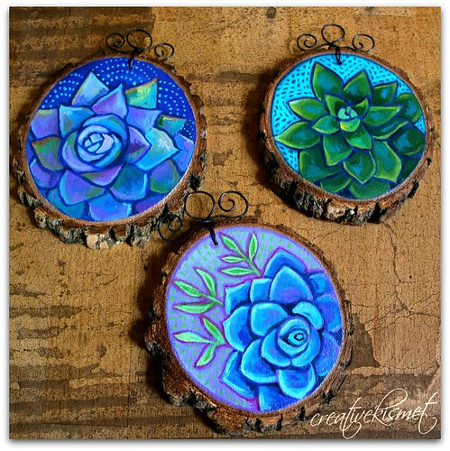 Succulent Wood Slice Ornaments - art by Regina Lord