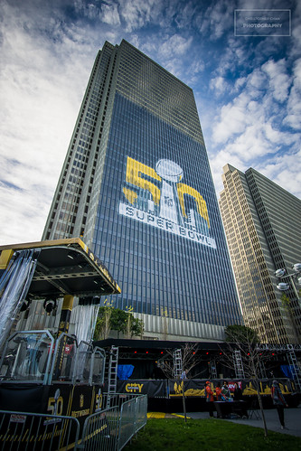Super Bowl 50 logo on a skyscraper