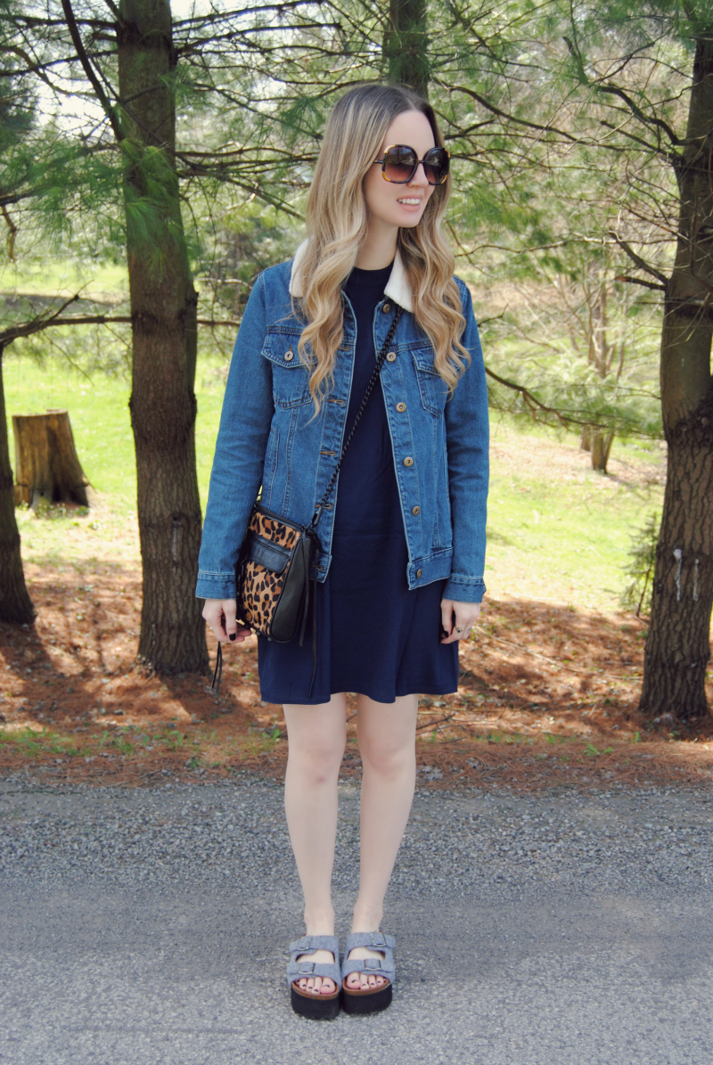 ShopTobiNavyDress_Forever21JeanJacket_RebeccaMinkoffLeopardMAC