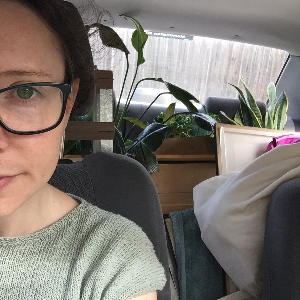 the car packed to the brim with plants, mirrors, artworks and cushions. oh and half of my face.