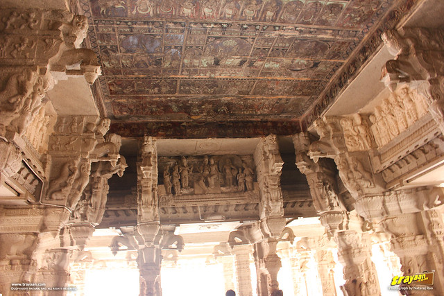 Ceiling paintings in the columned hall (mandapa) of Virupaksha Temple complex, Hampi, Ballari district, Karnataka, India