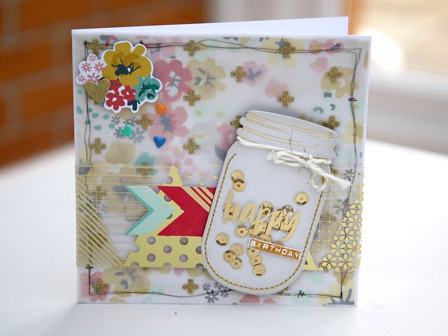 Sequin jar card by StickerKitten using Crate Paper Poolside range