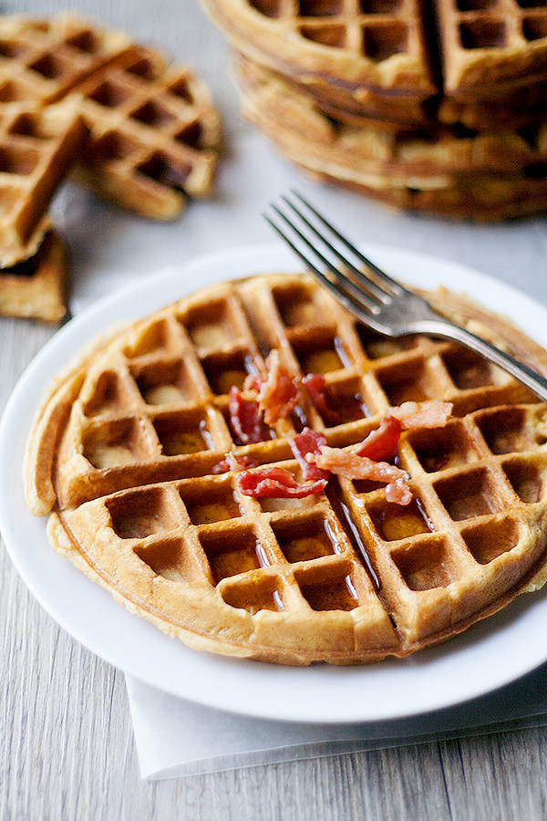 sweet potato and bacon waffles