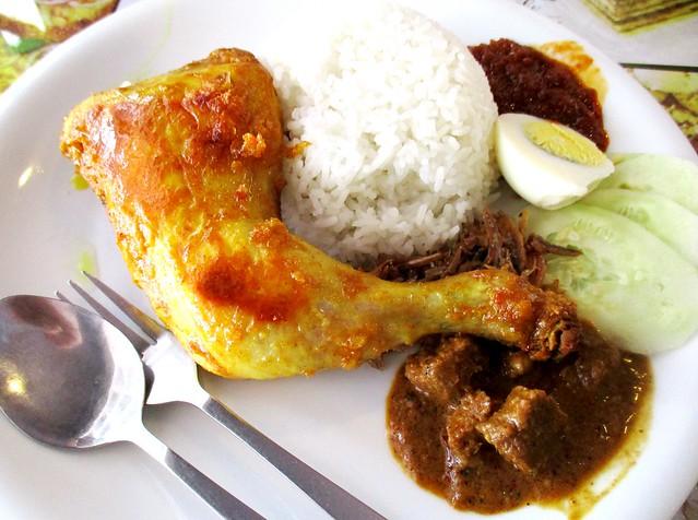 Noodle House nasi lemak, spiced chicken & rendang