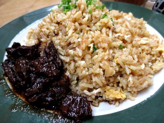 Nasi goreng sambal with daging masak hitam