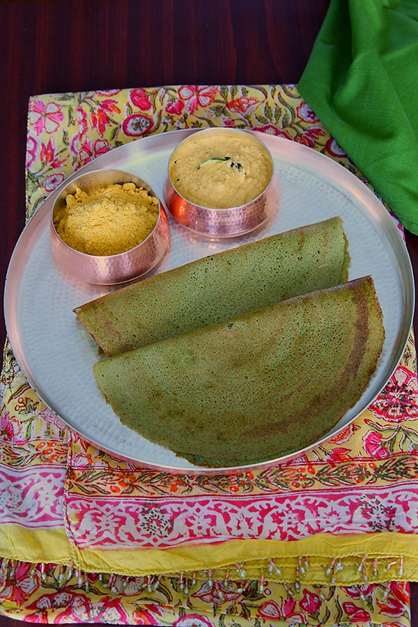 Pesarattu Dosa | Greengram Dal Pancakes with Quick Coconut Chutney