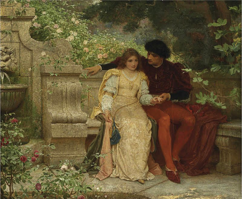 Lovers in a Garden by Charles Edward Perugini (Italian, 1839 - 1918).