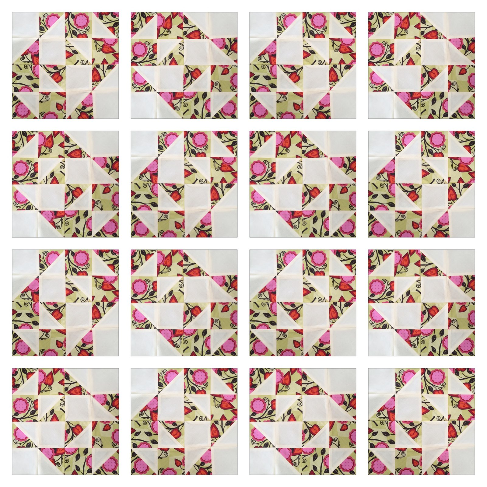 Half pinwheels and bows quilt block