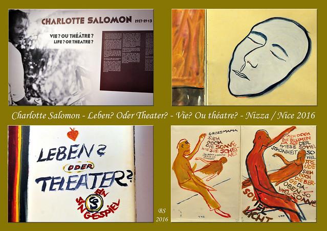 """Eine Sonderausstellung im Museum Villa Masséna zeigt Werke von Charlotte Salomon, die 1917 in Berlin geboren wurde, vor den Nazis nach Frankreich flüchtete und 1943 in Auschwitz-Birkenau starb. Die Ausstellung ist noch bis zum 24. Mai 2016 zu sehen. Hier meine """"Bilder einer Ausstellung"""", zu Collagen zusammengefasst. Foto Collage Brigitte Stolle März 2016"""