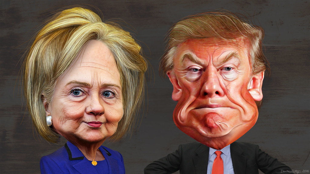 Image result for trump and hillary face off