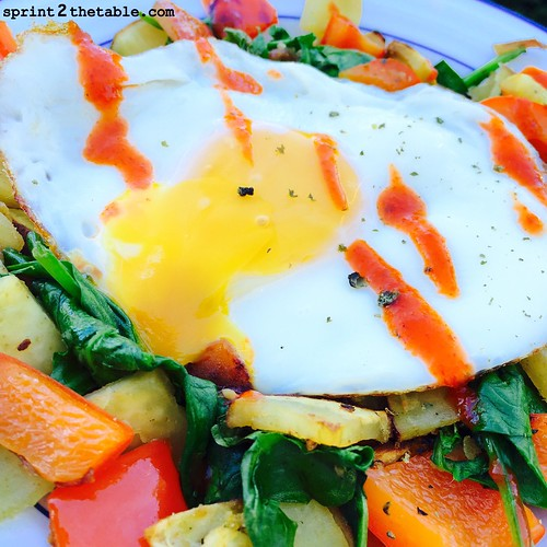 Sweet Potato & Spinach Hash with bacon and eggs