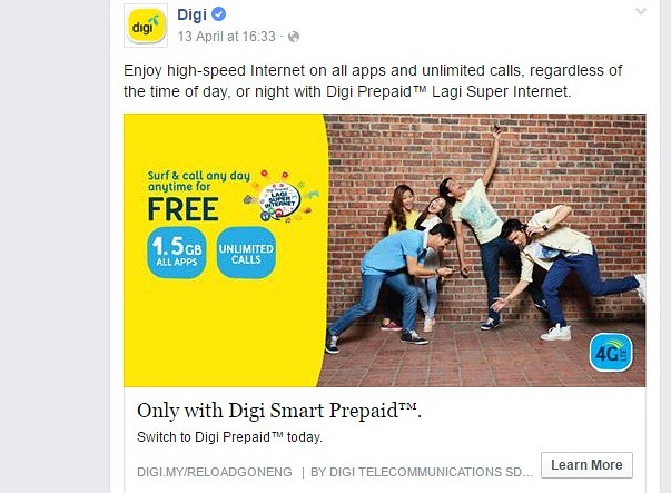 DIGI ad on Facebook
