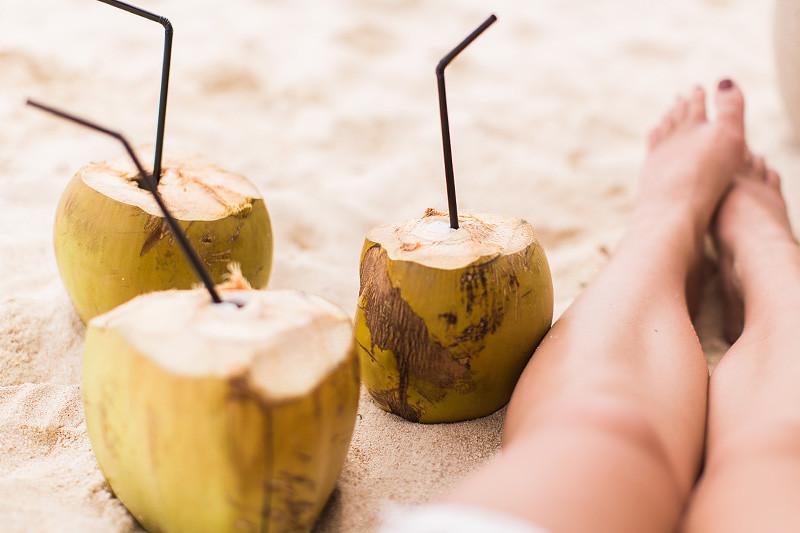 Mauritius beach coconuts