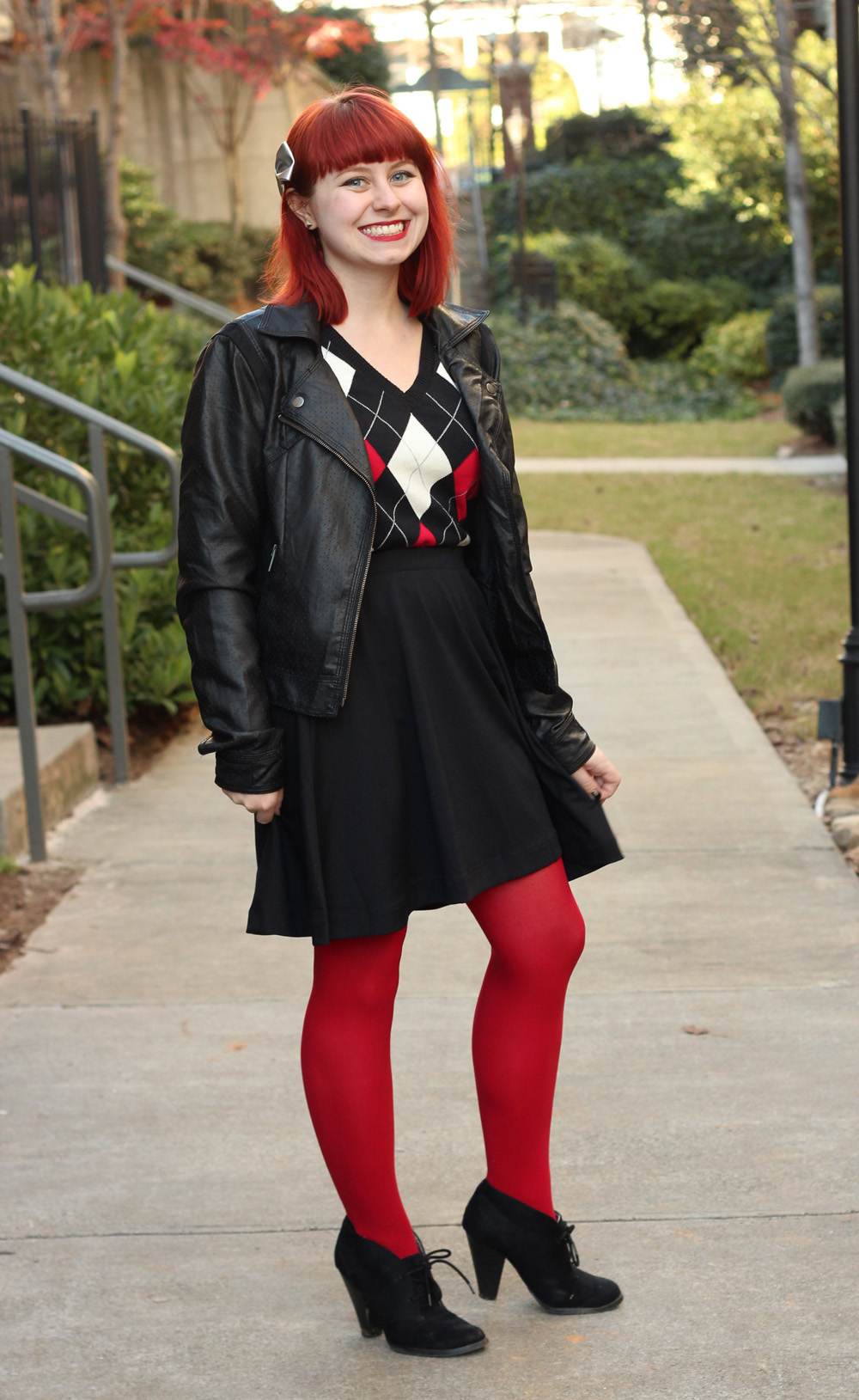 Argyle Sweater, Leather Jacket, Black Skater Skirt, and Red Tights
