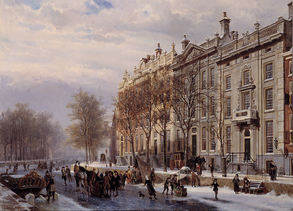 The bend in the Herengracht by Cornelis Springer, 1882