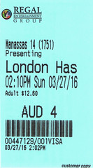 London Has Fallen ticketstub